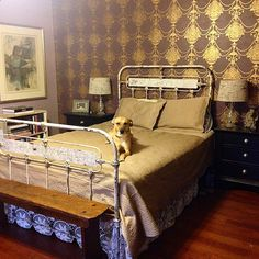 "Mid-1800's ""art panel"" bed."