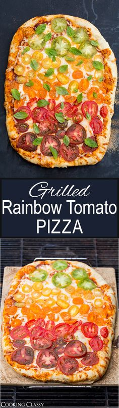 Grilled Rainbow Tomato Pizza - the perfect summer pizza! Tastes like pizza from a stone fired  pizza oven.