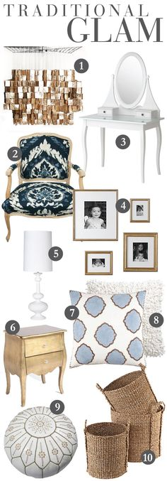 "I absolutely LOVE changing up the colors in my place every once in a while for a different feel. This season, I fell head over heels for gold, white and navy blue. This combination took my home from the fun, summer-like feel that I had and into more of a classic, traditional and downright classy space. It's timeless and the perfect mix of feminine and masculine. Here are my favorite picks for  a ""Traditional Glam"" look in the home. Lots of character, lots of texture and..."