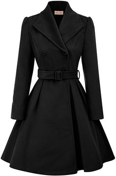 2019 Fashion Warm Winter Women Lapel Collar Wool Coat Retro Long Puff Sleeve pockets Belt Decorated Jacket Overcoat Outwear - Daily Buy Tips Lila Outfits, Edgy Outfits, Cute Casual Outfits, Dress Outfits, Fashion Outfits, Fashion Coat, Fall Fashion, Style Fashion, Shopping Outfits