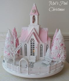 A pink and white Christmas glitter church snow scene/ putz houses Christmas Projects, Christmas Home, White Christmas, Holiday Crafts, Xmas, Christmas Ornaments, Holiday Decor, Christmas Glitter, Christmas Cookies