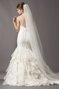 Watters, Fall 2013 - beautiful ruffles. Vintage and modern all at once.. and such a dramatic veil.
