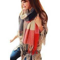 West See Frauen Winter warm Lange Schal Kaschmir Wolle große Tartan Schal Tuch (Rot)