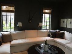 White and Grey Living Room, Transitional, Living Room, Sherwin Williams Porpoise. lights, pictures-square white or maple frames.