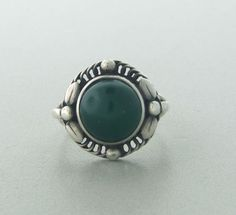 Georg Jensen Sterling Silver and Chrysoprase Ring #1C
