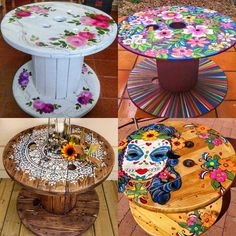 Wooden Spool Tables, Cable Spool Tables, Wooden Spools, Pallet Crafts, Wood Crafts, Diy And Crafts, Paint Furniture, Furniture Makeover, Home Decor Accessories