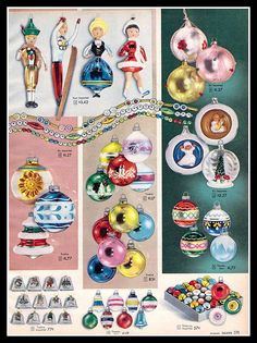 Vintage Sears Christmas Ornaments, 1957.