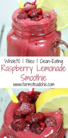 This Raspberry Lemonade Smoothie has the perfect balance of tangy + sweet. This perfect warm weather treat uses only Whole30- + Paleo-compliant ingredients.