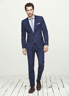 traje azul marino lino by Mango