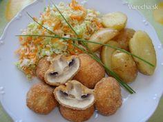 Vyprážané šampiňóny (fotorecept) Russian Recipes, Baked Potato, Potatoes, Polish, Baking, Ethnic Recipes, Food, Vitreous Enamel, Potato