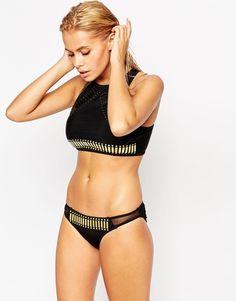 Bild 3 von ASOS – Verzierte Bikinihose im Hüftstil mit Netzeinsatz