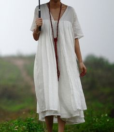 Simple Style Dual Linen Dress