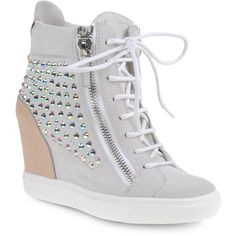 Sneakers Women ($995) ❤ liked on Polyvore featuring shoes, sneakers, wedges, heels, sapatos, zipper sneakers, wedge sneakers, heel sneakers, white wedge shoes and high top sneakers