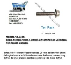 Modelo 42.0756- Tornillos paquete de 10- 6mmx28mm-GX120