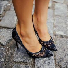 gorgeous black lace heels