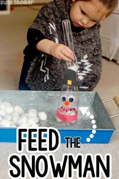 Feed the Snowman Activity. Fun winter fine motor activity for toddlers