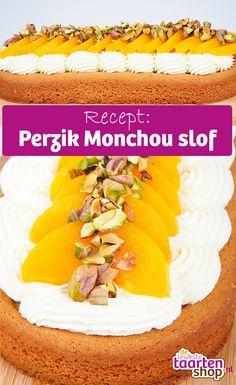 Heerlijke zoete fruitige slof! Deze slof is gevuld met monchou crème en plakjes perzik. Met pistache nootjes voor de finishing touch.