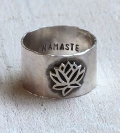Namaste Sterling Silver Ring | An outer symbol of your inner peace, this Namaste lotus ring s... | Rings