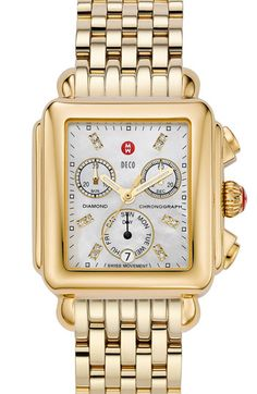 MICHELE 'Deco' Diamond Dial Gold Watch Case | Nordstrom