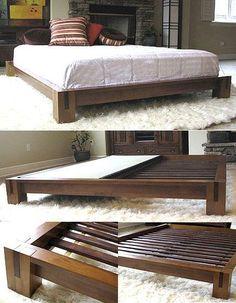 TATAMI PLATFORM BED - HONEY OAK | Platform Beds  #decor #homedecor #bedroom #furniture #platformbeds #mattressnut Bed Frame Design, Diy Bed Frame, Bed Design, Bed Frames, Chair Design, Cama Tatami, Tatami Bed, Low Platform Bed Frame, Wood Platform Bed