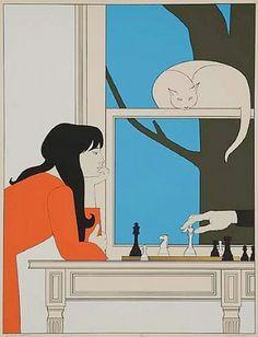 Illustration by Will Barnet, Seventh Season, Color serigraph. Poster Design, Art Design, She And Her Cat, Barnet, Artwork Images, Inspiration Art, White Cats, Grafik Design, Oeuvre D'art