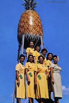 Photo of c.1960 Hawaii, Oahu, Female workers in yellow uniform standing in front of Dole Cannery Pineapple, blue skies, postcard