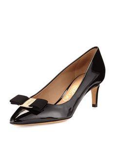 SALVATORE FERRAGAMO EMY PATENT BOW 55MM PUMP, BLACK (NERO). #salvatoreferragamo #shoes #pumps