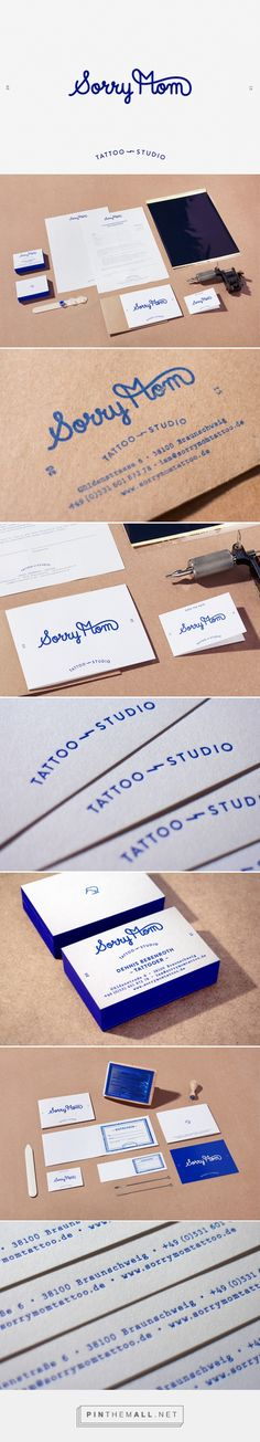 Identity project for Sorry Mom, a tattoo studio based in Braunschweig, Germany. Linear logo and limited blue on white palette works consistently throughout the identity to create a dynamic and on trend brand. #branding #design #lettering