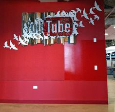YouTube sign original artwork commission by Dolan Geiman for downtown Chicago Google office