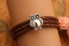 owl braceletretro silver SUPER cute owl bead by fabuloustime, $4.99