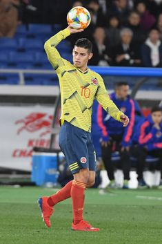 YOKOHAMA, JAPAN - MARCH James Rodriguez of Colombia looks on during the international friendly match between Japan and Colombia at Nissan Stadium on March 2019 in Yokohama, Kanagawa, Japan. (Photo by Masashi Hara/Getty Images) Football Boys, World Football, James Rodriguez Wallpapers, James Rodrigues, Nissan Stadium, Messi And Ronaldo, Soccer Socks, Japan Photo, European Football