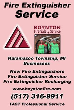Fire Extinguisher Service Kalamazoo Charter Township (517) 316-9911 Discover the Complete Source for Fire Protection Equipment and Service.. We're Boynton Fire Safety Service!! Call us Today!