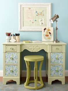 •Convert an Old Vanity   Color and pattern transform the old vanity into a petite desk perfect for a small room. Remove the mirror, sand, prime, and paint the vanity. When dry, cover the drawer fronts and knobs with pretty papers using decoupage glue.