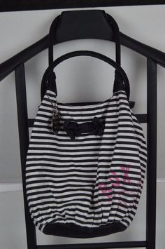 ROXY - Medium Handbag Purse Hippy Black and white striped SEE CONDITION   Roxy  Hobo 5d130a53ff8