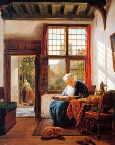 Reading old woman at window  - Abraham van Strij