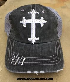Clear Swarovski Crystal Cross on Distressed Black Trucker Cap www.gugonline.com