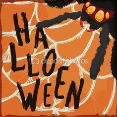 The 260 best happy halloween images on pinterest happy halloween spider with greeting message of halloween trapped in its cobweb m4hsunfo