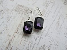 Deep Purple Rhinestone earrings by HappyTearsbyMicah on Etsy, $14.00