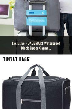394cac2252 BAGSMART Waterproof Black Zipper Garment Bag With Handle Clamp Dress Suit  Bag Men Business Garment Bag