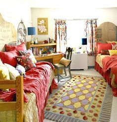 Colorful, eclectic, and bright college dorm room