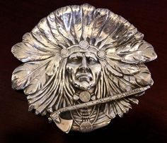 *INDIAN CHIEF* ~ UNGER BROS Sterling Silver TRAY DISH Nouveau Antique VICTORIAN