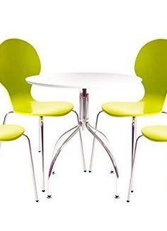 Alderney-Modern-Dining-Table-White-Chrome-Finish-with-4-Chairs-Choice-of-7-Colours-Green-0