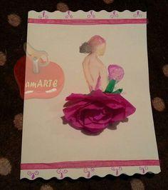 Tarjeta en acuarela con flor.100% artesanal. Watercolor card whit handmade flower. 100% hand made.