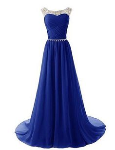 Long Formal Sheer Neck Chiffon Evening Prom Dress Wedding Party Bridesmaid Gowns
