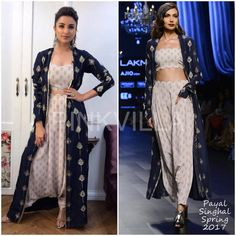 Parineeti Chopra kickstarted the promotions for her much anticipated film, 'Meri Pyaari Bindu', by taping for a reality show yesterday.She did a fusi. Indian Designer Outfits, Indian Outfits, Designer Dresses, Indian Gowns, Indian Wear, Indian Crop Tops, Indian Couture, Queen, Asian Fashion