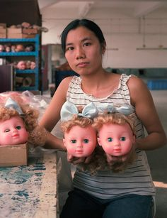 Chinese Factory Workers & the Toys They Make - by Michael Wolf    A project that portrays the very poor labor conditions in China.  The installation created to exhibit the photos involved involved 16,000 'Made in China' toys.