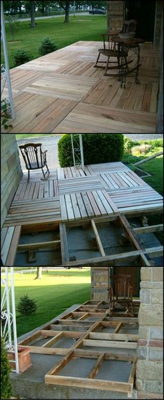 Wood Pallets Ideas Front Porch Wood Pallet Deck Project - One-day backyard project ideas are the perfect way to spruce up your home for summer. Find the best designs and transform your outdoor space! Backyard Projects, Diy Pallet Projects, Outdoor Projects, Home Projects, Outdoor Decor, Backyard Ideas, Backyard Landscaping, Party Outdoor, Pallet Landscaping Ideas