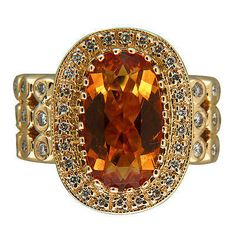 Vintage Sonia B Fine Golden Yellow 6.0ct Oval Citrine 14k .71ct 44 Diamond Ring