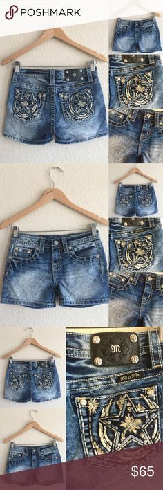MISS ME  Jean Shorts, Star Rhinestone Bling, 26 Gorgeous!  In excellent condition! Miss Me Shorts Jean Shorts