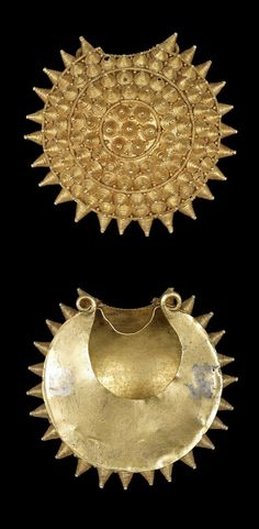 Africa | Hollow lost wax casting in gold of a uni-facial sword ornament (abosodee) in the form of a stylised circular aquatic shell.  Would have been tied onto the scabbard of a bosomfena sward.  | Asante region, Ghana | ca. prior to 1924. || {13.12}